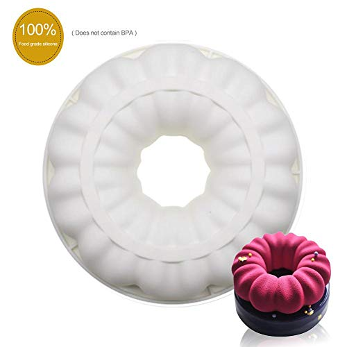 Moule de gâteau en silicone, moule en mousse de guirlande ronde ronde 3D, moule à...