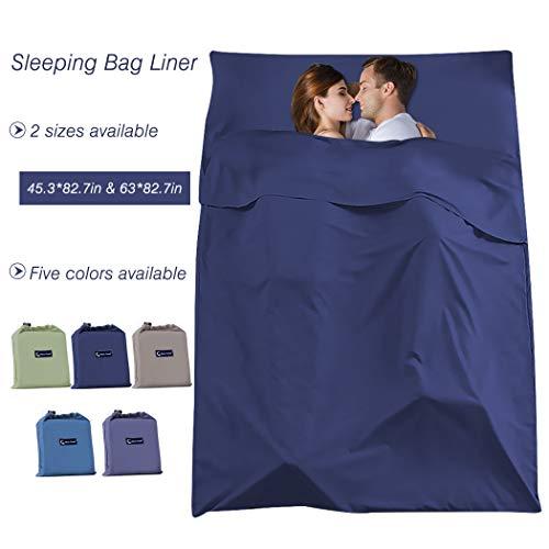 Sleeping Bag Liner Compact Sleep Bag Lightweight Travel Sheet Camping Sheets Sleep Sack, Navy Blue, 63 x 82.6inch(160 x 210cm)