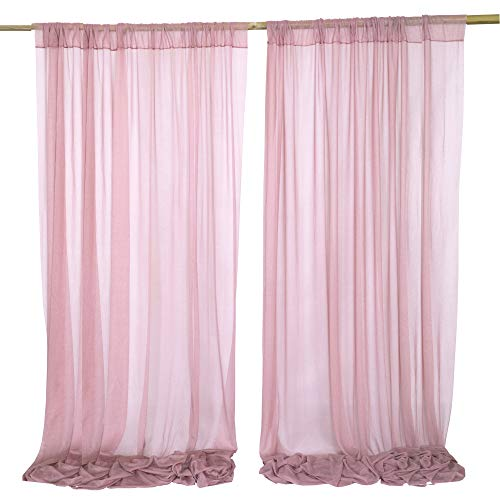 Lookein Dusty Rose Wedding Backdrop Wrinkle-Free White Sheer Backdrop Curtains 10ft x 10ft Chiffon Fabric Drapes for Wedding Ceremony Arch Party Stage Decoration