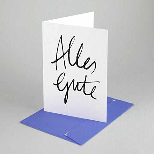 10 Recycling-Glückwunschkarten: Alles Gute, Klappkarte A6, inkl. violettem Umschlag C6 (elco), Kalligrafie: Stefanie Jordan