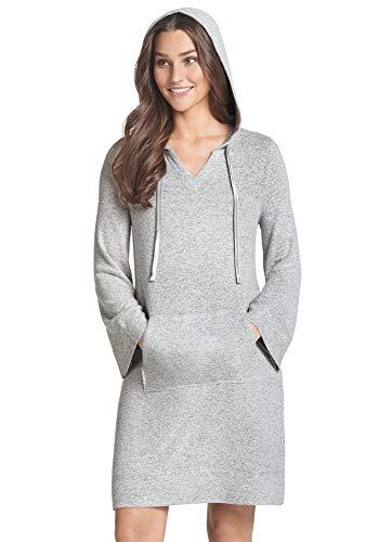 Jockey Women's Sleepwear Hot Cocoa Hooded Sleepshirt, Mid Grey, M
