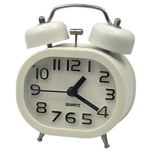 Coolzon Reloj Despertador 3' Retro Relojes Analógico de Cuarzo Silencioso Despertadores Alarma Fuerte sin Tic TAC con Luz Nocturna y Campana Doble (Blanco)