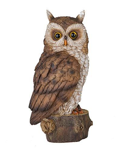 Formano Eule auf Baumstumpf Deko Figur Uhu Kauz naturnah und detailreich gestaltet (25 x 12 x 13 cm)