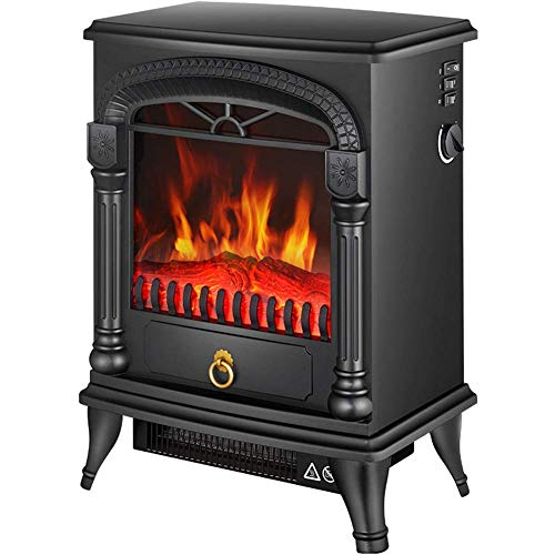 DOUP Electric Fireplace Heater 2000W with hearth Flame Effect Arch Design Portable Electric Wood Stove Effect.