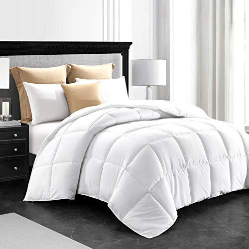 Lempolsa Down Alternative Comforter White King Duvet Insert Hotel Collection Reversible with Corner Taps-Hypoallergenic-Lightweight&Warmth-All Seasons Comforter