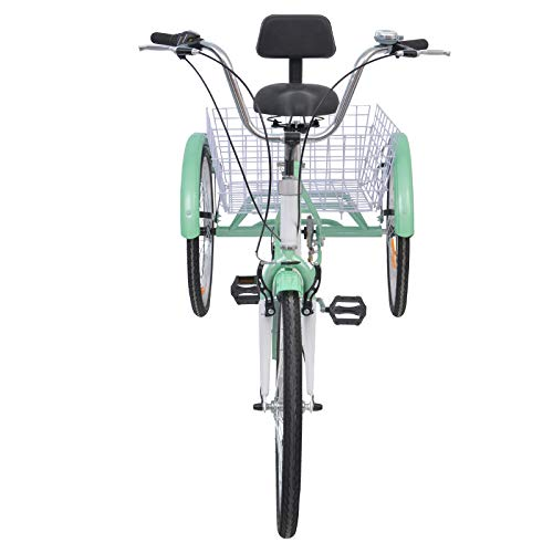 Slsy Adult Tricycles 7 Speed, Adult Trikes 20/24 / 26 inch 3 Wheel Bikes, Three-Wheeled Bicycles Cruise Trike with Shopping Basket for Seniors, Women, Men. (Light Sea Green, 24
