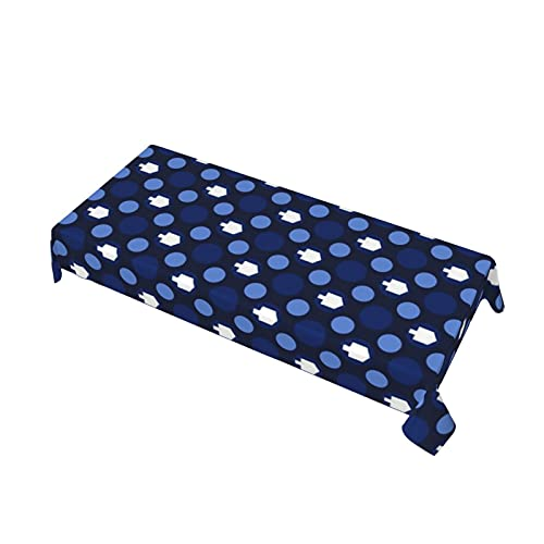 Hanukkah Dreidels and Dots Waterproof Vinyl Tablecloths Rectangle Heavy Duty Table Cloth Wipeable Table Cover for Kitchen and Dining Room 60 x 108 Inch