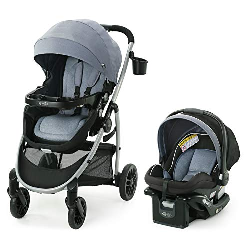 Graco Modes Pramette Travel System | Includes Baby Stroller with True Bassinet Mode, Reversible Seat, One Hand Fold, Extra Storage, Child Tray and SnugRide 35 Infant Car Seat, Ontario