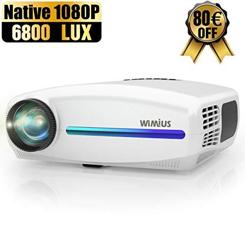 Proyector, WiMiUS 6800 Lúmenes Proyector Full HD 1920x1080P Proyector de Cine en Casa, Soporta 4K Pantalla 300