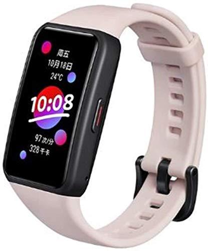 """Honor Band 6, tela de 1.47"""" amoled, Bluetooth 5.0, Monitoramento inteligente da frequência cardíaca, Suporte a verificação de SpO2 de saturação de oxigênio no sangue. (rosa)"""