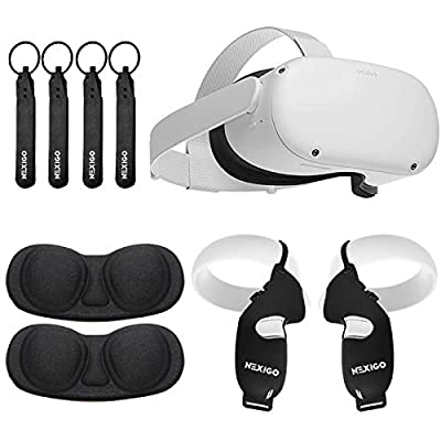 Oculus 2020 Newest Quest 2 VR Headset 64GB Holiday Bundle, Advanced All-in-One Virtual Reality Gaming Headset, NexiGo Controller Grip Cover Balck + Knuckle Strap Balck + Lens Protect Cover Bundle