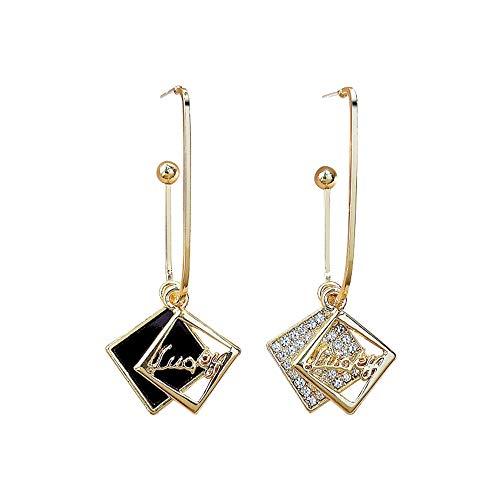 Pendientes para mujer de plata 925 con diseño de cuadros, cuadrados asimétricos de color negro y dorado