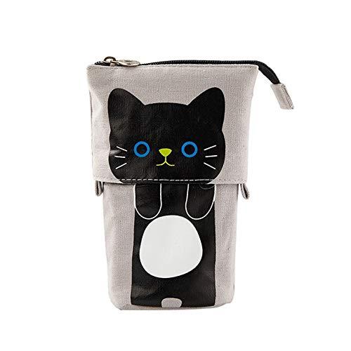 YiXing Lindo estuche escolar de gato para niñas niño lápiz cartucho de lona bolsa de lápiz Kawaii Unicorn Pen Box Papelería Coreano Penal Kit (color gris)