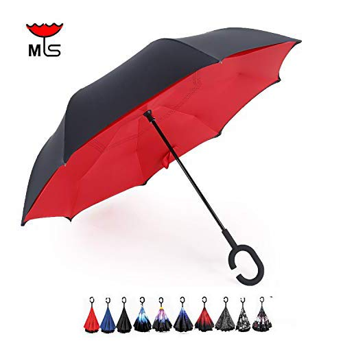 MY'S Inverted Reverse Folding Umbrella Double Layer Cars Reversible Umbrella Waterproof UV Proof Windproof Umbrella Self-Standing & C-Shape Mothers/Fathers Day (Great Red)