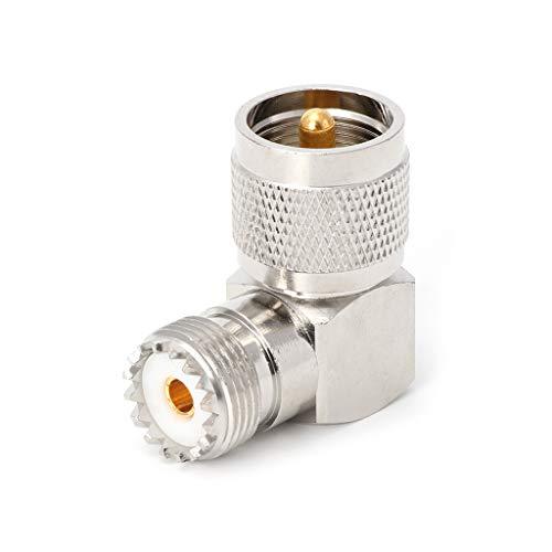wji (1) UHFJKW Todo Cobre UHF un Codo Macho y un Codo Hembra, Conector Adaptador RF de ángulo Recto de 90 Grados