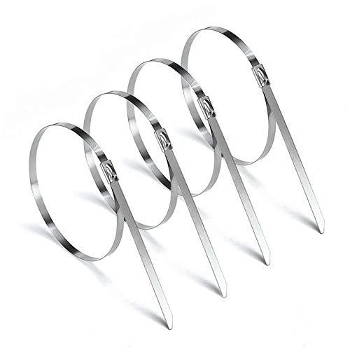 Wnuanjun 100 stücke 304# Edelstahl Kabel Krawatten 4,6 mm Schwere Selbsthemmende Kabel Zip Krawatte Mehrzweck Metall Auspuffverschluss Verriegelung Krawatten (Größe :...