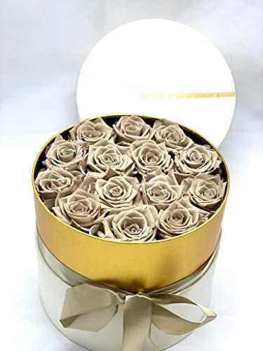 13 Rosas preservadas Khaki en Caja de Regalo - Rosas eternas en bombonera Blanca y Dorada con Lazada - Regalo Novias, Boda, Regalo romántico Flores Día de la Madre