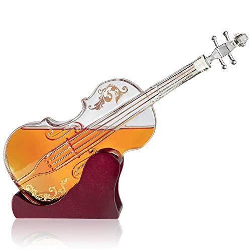 Preisvergleich Produktbild YXXJ 1000ml Glas Violine Decanter,  Mahagoni Basis,  Der Wein-Glas-Dekanter für den Whisky,  Scotch,  Spirituosen,  Wein oder Wodka für Musikliebhaber.