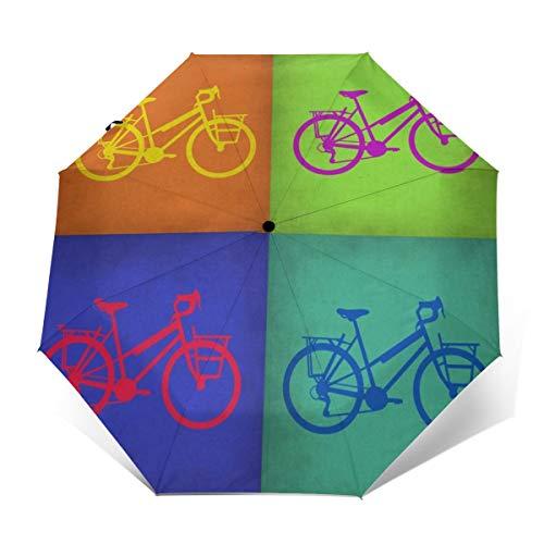 Colorido Vintage Paraguas de Bicicleta Impermeable Paraguas de Viaje Paraguas Auto Abierto/Cerrar...