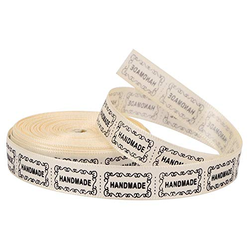 Cinta de algodón de 10 yardas, 1.3cm de ancho Paquete de regalo de regalo Envoltura de satén HECHO A MANO Cinta de algodón Etiqueta de ropa de bricolaje para regalo artesanal Envoltura de(Beige)