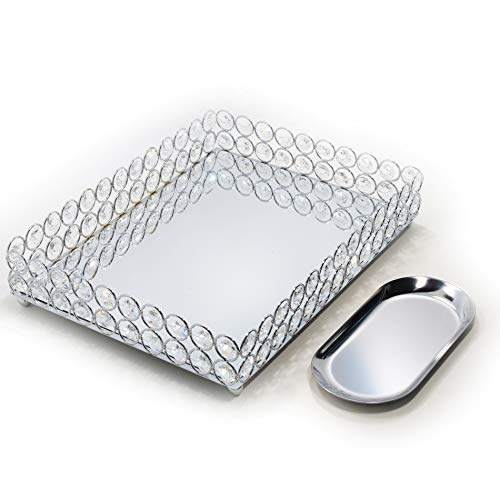 Lindlemann Mirrored Crystal Vanity Tray - Ornate Decorative Tray for Perfume, Jewelry and Makeup (Rectangle 12 x 9 inches, Silver)