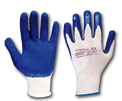 ART.MAS 12 Paar Latex Arbeitshandschuhe Handschuhe Gärtnerhandschuhe (9/L)