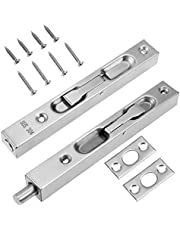 KingYH 6 Inch Door Flush Bolt Latch Lock 304 Stainless Steel Concealed Security Lever Action Gate Latch Bolt with Strike and Screws Slide Latch for Wooden Door Double-Open Gate