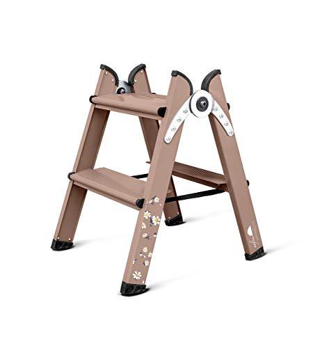 DUO Stepladder - Escalera plegable de alumínio 2 peldaños, utilización domestica, profesional y taburete - Special Edition Sofia Parapluie