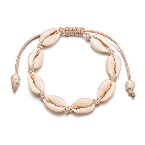 XKMY Pulsera para mujer, joyería de moda con cuentas de concha oceánica, cadena de playa, pulsera de borla bohemia (longitud: 22 cm, color metálico: blanco)