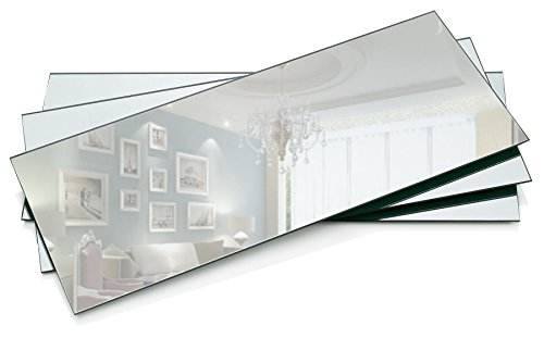 """PARNOO 7""""x16"""" Rectangle Mirror Plate with Bevel Edge Set of 3 – Glass Mirror Tray, Base for Wedding Centerpieces, Candles and Wall Decor"""