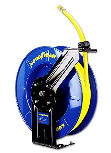 "GOODYEAR Air/Water Hose Reel Retractable Spring Driven 1/2"" Inch x 65' Feet Extra Long Premium Commercial SBR Hose Max 300 Psi Reinforced Steel Construction Heavy Duty Industrial Single Arm & Base"
