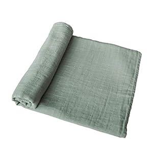 mushie Muslin Baby Swaddle Blanket | 100% Organic Cotton (Sage)