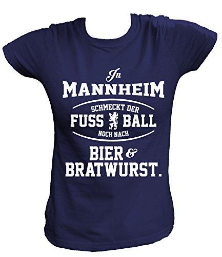 Artdiktat Damen T-Shirt - In Mannheim schmeckt der Fußball noch nach Bier und Bratwurst Größe XXL, navy