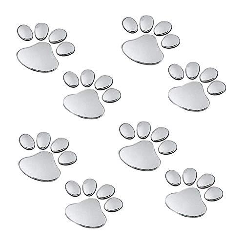 EQLEF® 4 Pares de la pata del perro del oso animal Huella 3D de coches pegatinas para el parachoques de la decoración de color de plata