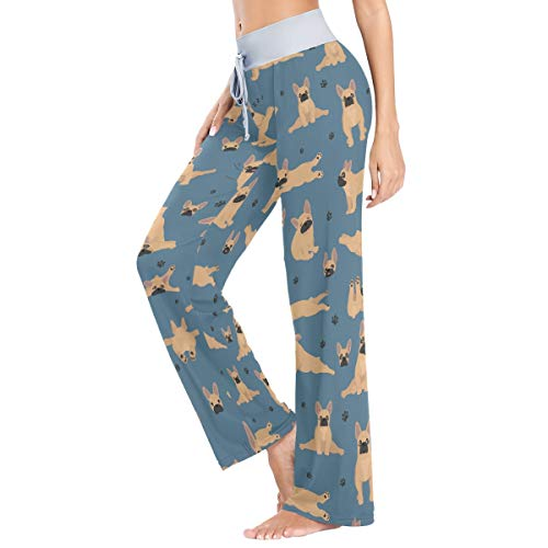 French Bulldog in Different Positions Women's Pajama Pants Lounge Sleep Wear L