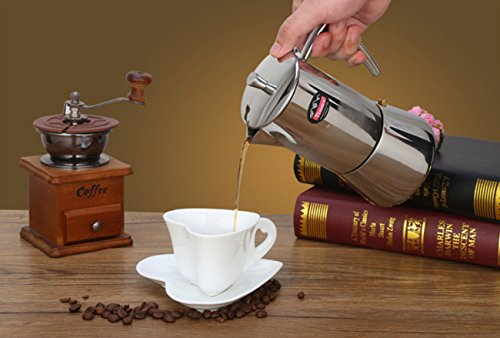 NANXCYR Klassiek koffiezetapparaat van roestvrij staal koffiezetapparaat espressomachine French met koude greep met deksel boven, 200 ml/300 ml