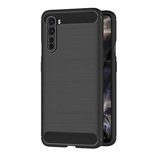 AICEK Hülle Compatible OnePlus Nord Schwarz Silikon Handyhülle für OnePlus Nord Schutzhülle Karbon Optik Soft Hülle (6,44 Zoll)