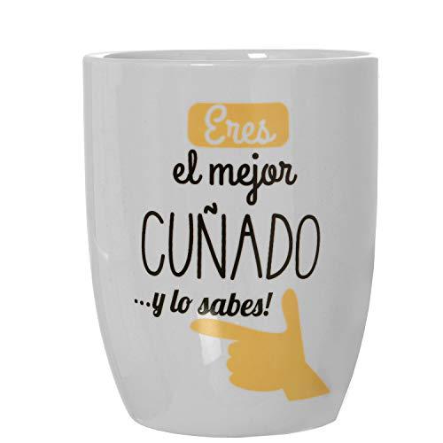 TIENDA EURASIA Taza Desayuno con Frase y Dibujo Original - Mugs de Cerámica - Regalo Original - 8,5x10cm 385ml (Mejor CUÑADO)