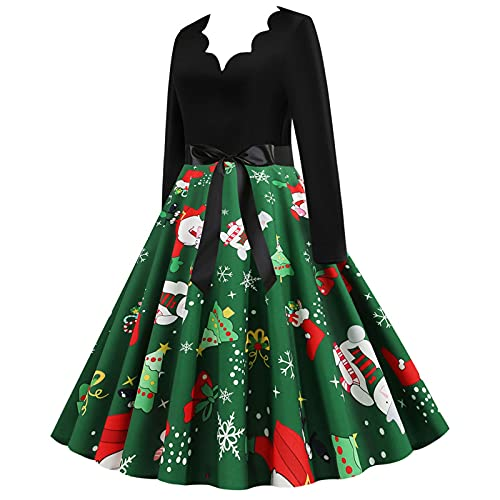 1950s Dresses for Women Xmas Santa Elk Printed Long Sleeve Waist Bow A-Line Cosplay Costume Party Cocktail Swing Dress Green