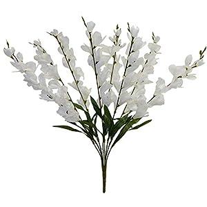 "Silk Flower Arrangements Rima 26"" Tall Gladiolus Bush ~ Many Colors ~ Decor Wedding Silk Flowers (White)"