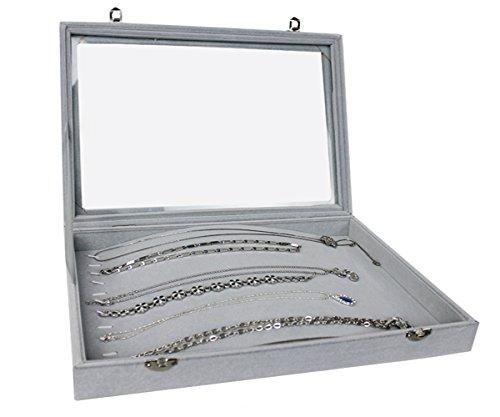 Markenlos Schmuckkasten Schmucklade Schaukasten Schmuckdisplay mit Glasdeckel grau (für Lange Ketten)