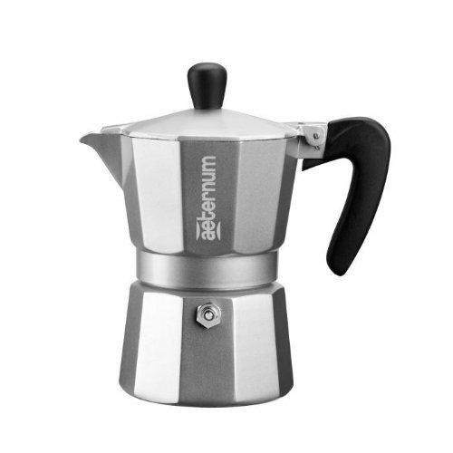 Aeternum Allegra - Stovetop Espresso Maker - Aluminium w/ Black Acrylic Handle & Knob - Silver - 3 Cups