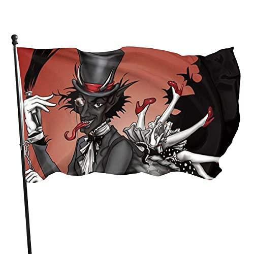 Banderas para jardín Chica de captura de folclore navideño de Krampus Bandera Grande de balcón para Exterior Reforzada y con 2 Ojales metálicos 90x150cm