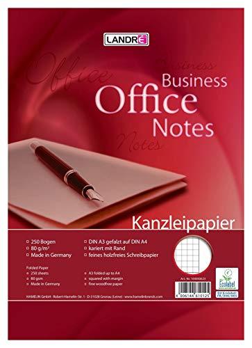 LANDRE 100050623 Kanzleipapier Office 250 Kanzleibogen kariert mit weißen Rand 80 g/m² holzfreies Papier - Ideal für Schule und Büro