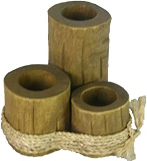 Nautical Tropical Imports Tealight Holder Pier Post Trio Wood with Rope Ties