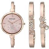 Anne Klein Women's AK/3274RGST Swarovski Crystal Accented Rose Gold-Tone Watch and Bangle Set