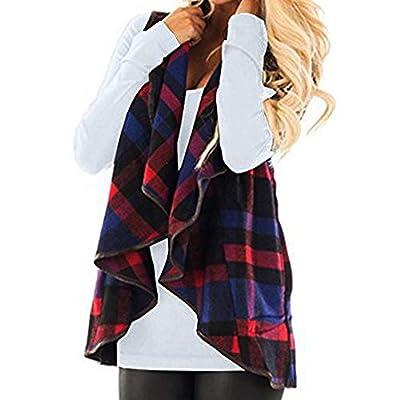 CUCUHAM Womens Vest Plaid Sleeveless Lapel Open Front Cardigan Sherpa Jacket Pockets Winter(Y2-Blue,Medium) from