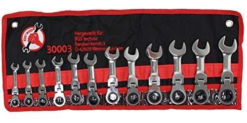 Kraftmann 30003 | Jeu de clés mixtes à cliquet | extra court | 8 - 19 mm | 12 pièces