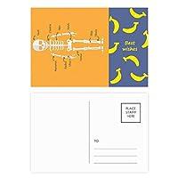 人間の骨の漫画イラスト バナナのポストカードセットサンクスカード郵送側20個