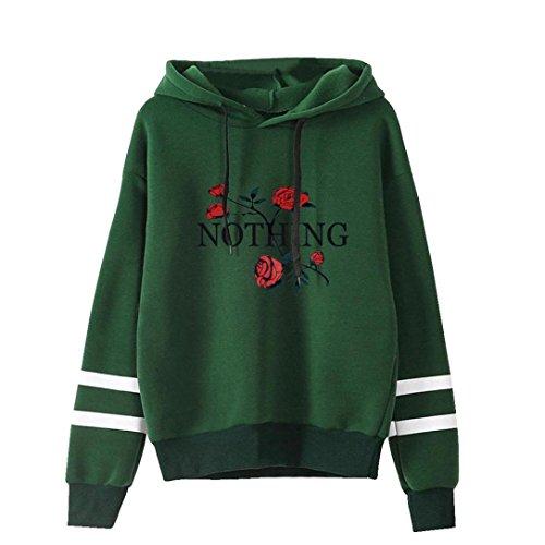 Sumen Girls Teens Long Sleeve Hoodie Sweatshirt O-Neck Fashion Blouses (M, Wine Red)